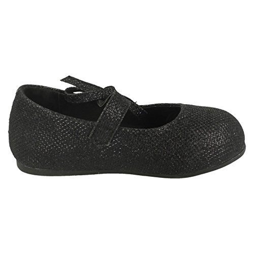 Mädchen Ort auf Flacher Velcro Schuh mit Glitzer Schleife Dekoration Schwarz