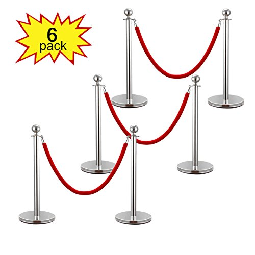 LAZYMOON 6PCS Stanchion Posts Set Queue Safety Barrier with Red Velvet Ropes, -