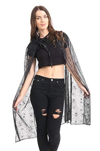Momo&Ayat Fashions Ladies Spider Tutu Cape Mesh Halloween Costume- Mix & Match (Cape - Black, -