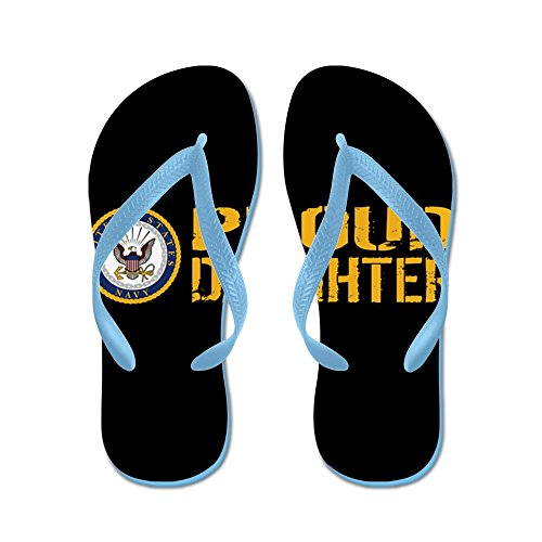 Cafepress Us Navy: Proud Daughter (black) - Slippers, Grappige Leren Sandalen, Strandsandalen