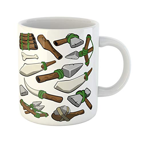 Semtomn Funny Coffee Mug Bow Stone Age Caveman Prehistoric Weapons Ancient Arrow Axe 11 Oz Ceramic Coffee Mugs Tea Cup Best Gift Or Souvenir]()