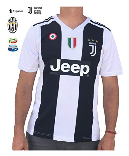 Juventus Ronaldo No.#7 Soccer Jersey 2018 2019 Serie A Calcio d'Italia - New Black and White Home Soccer Jersey 2019 (Original, Small)