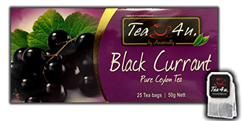 Black Currant Black Tea - 25 Tea Bags | Flavoured Black Tea | Fruity Tea | Ceylon Tea | Natural & Pure & Unique Quality , From Sri Lanka | Tea4U