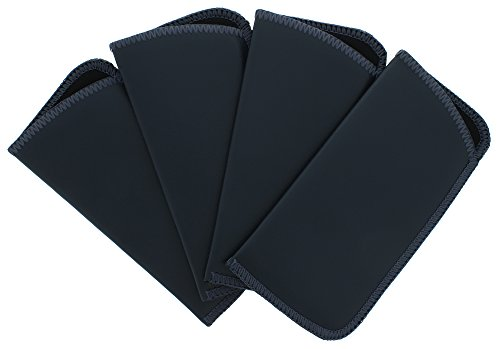 4 Pack Faux Leather Eyeglass Slip Case, Fits Medium to Large Frames, Navy
