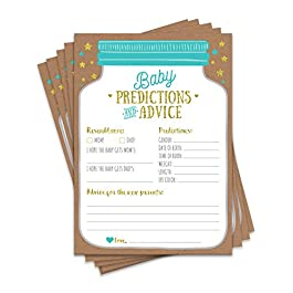 50 Mason Jar Baby Shower Prediction and Advice Cards – Gender Neutral Boy or Girl, Baby Shower Games, Baby Shower Decorations, Baby Shower Favors