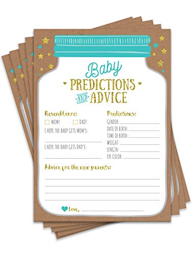 50 Mason Jar Baby Shower Prediction and Advice Cards  Gender Neutral Boy or Girl Baby Shower Games Baby Shower Decorations Baby Shower Favors