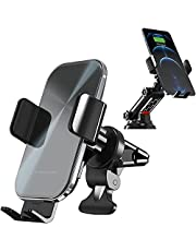 DEVICETRIBE Wireless Charging in-Car Phone Holder - Auto-Clamping Phone Charger - Air Vent/Dashboard/Windscreen Mount - 15W/10W Qi Fast Charging - for All Qi-Enabled Phones eg iPhone 12/11/S21/Pixel