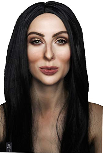 ALLAURA 70's Cher Long Black Straight Wig Women Witch Morticia Costume Halloween Wigs]()
