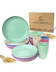 Wheat Straw Dinnerware Sets (16pcs) Multi Color-Unbreakable Microwave Safe-Lightweight Bowls, Cups, Plates Set-Reusable, Eco Friendly,Dishwasher Safe,Wheat Straw Plates,Wheat Straw Bowls, Cereal Bowls