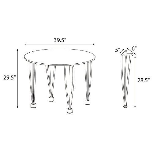Novogratz Round Dining Table with Chrome Plated Legs, White by Novogratz (Image #7)