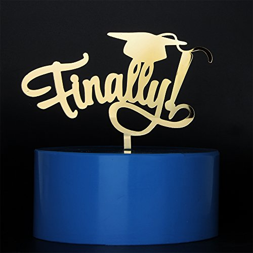 Mirror Gold Finally Cake Topper Graduation 2018 Party Supplies for College,High School,Doctorate, Kids & Nursing Graduates by MaiCaiffe