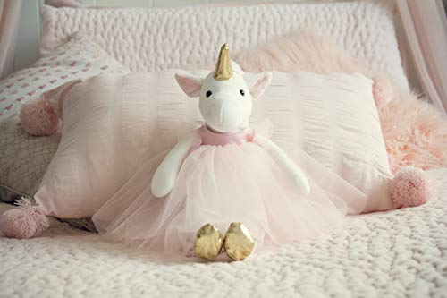 - Inspired by Jewel Ella The Unicorn Premium Quality Stuffed White Unicorn Plush Doll with Golden Horn, Hooves & Flowing Pink Mane & Soft Tail | Playable Toy with Movable Legs with Huggable Arms