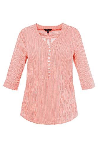 (Ulla Popken Women's Plus Size Seersucker Textured Stripe Blouse Apricot Stripe 12/14 698014 66)