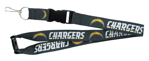 (aminco NFL Los Angeles Chargers Team Lanyard, Charcoal)