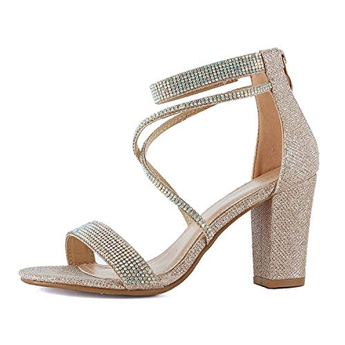 (Womens Comfortable Strappy Chunky Block Ankle Strap Open Toe Heeled Sandals (7 M US, Goldv2 Glitter))