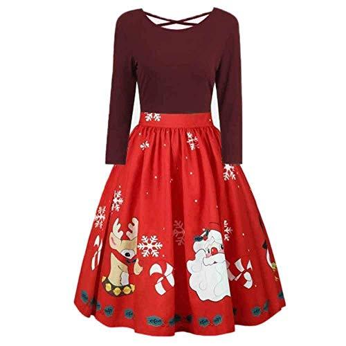 coollight Women's Long Sleeve Empire Waist Full Length Maxi Dress Ugly Dress(Wine -