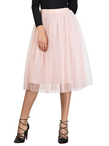 - Joeoy Women's Elastic Waist Ballet Layered Princess Mesh Tulle Midi Skirt-XL Pink
