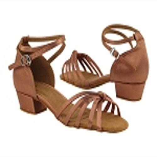 Very Fine Girls Tan Satin Latin Dance Shoe 6005 in size 3.5 girls with 1 inch heel by Very Fine Dance Shoes