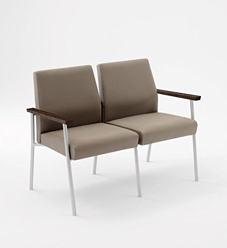 Lesro Mystic 2 Seat Guest Chair with Walnut Wood Armrests, Silver Frame, Core Seed Fabric (Seat Guest Lesro)