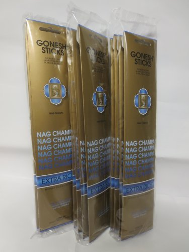 Gonesh Incense Sticks Extra Rich Collection - 12 Nag Champa Pack (240 Sticks)