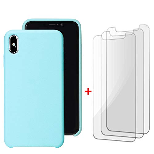 iPhone Xs Max Liquid Silicon Rubber Hard Case with 3 Tempered Glass Screen Protectors Pack (6.5 inch iPhone Xs Max Compatible) Crystal Clear 3D Touch [0.25mm] Shockproof Slim Baby Blue Cover by CaseX