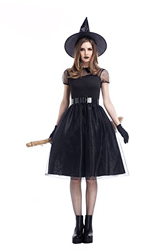DoLoveY Halloween Plus Size Classic Black Witch Costume