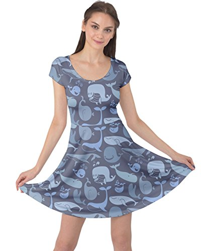 (CowCow Womens Blue Cute Doodle Blue Whales Marine Seamless Cap Sleeve Dress, Blue - M )