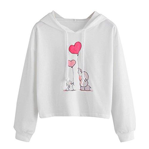 Goddessvan Women Sweatshirt Casual Printed Jumper Pullover Hoodie Crop Top Coat