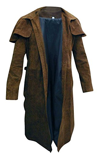 New Vegas A7 Armor Classic Veteran Ranger Brown Suede Leather Trench Coat