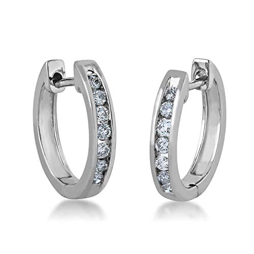 1/4 ct. tw. Round Open Channel Set Diamond Huggie Hoop Earrings with Click Backs in 10K White Gold - JX7583-RP10W