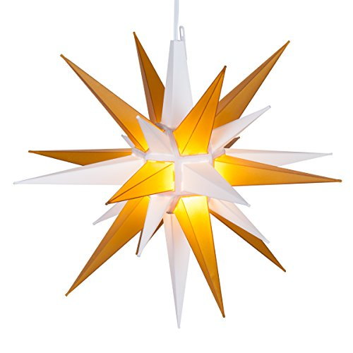 "Kringle Traditions 14"" LED Moravian Lighted Star (Gold and White)"