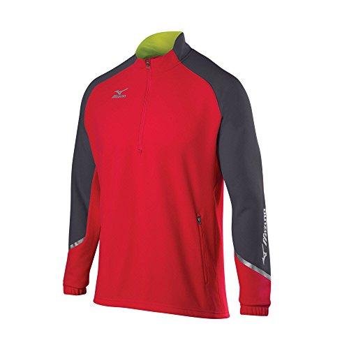Red Mizuno Pullover (Mizuno 350620.1092.06.L Elite 1/2 Zip Pullover L Red-Charcoal-Shadow)