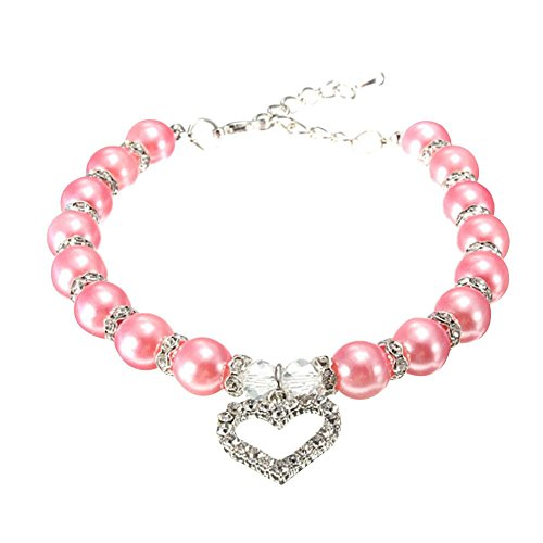 CradlebeautyPink Dog Love Heart Pet Pendant Faux Pearls Collar Necklace Rhinestones Puppy Jewelry (Small)