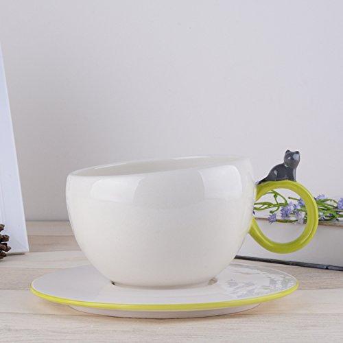 MOCER Einfache Keramische Tassen große Kapazität Becher Kaffee Kaffee Kaffee Milch Cup Büro Cups kreative Frühstück Tasse mit Deckel, Löffel, Französisch Filter Cup L mit Grüne Abdeckung B07811P3G9 Kaffeetassen Adoptieren a9fd7a