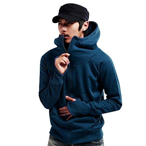 Flannel Newsboy (Gillberry Men's Winter Hoodie Warm Hooded Coat Jacket Outwear Sweater Slim Tops (S, Blue))