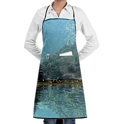 (JONHBKD Custom Beautiful Nature Wallpaper Adjustable Apron with Pockets Plus Size for KitchenFor Wife Ladies Men BBQ )