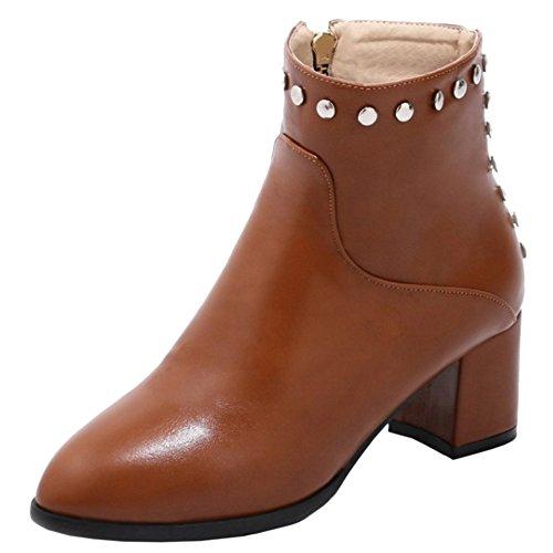 COOLCEPT Damen Stiefel zipper Yellow-Brown