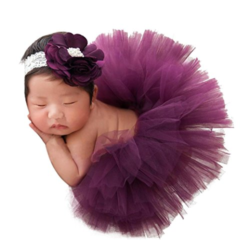 Honhui Baby Photography Prop Infant 0-4 Months Costume TuTu Dress Lace Flower Headband Set (D)