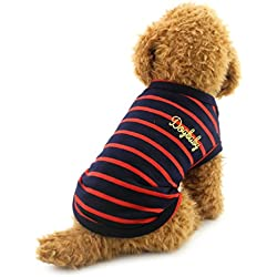 SMALLLEE_LUCKY_STORE Small Dog Clothes Stripe Shirts Cotton Vest T-Shirt Doggy Apparel, X-Large, Red
