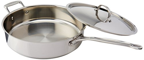 Chef's classic stainless saute pan with helper handle and cover.