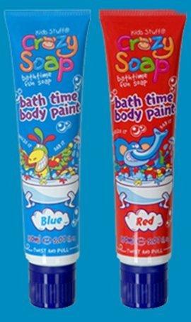 Kids Stuff 2 X Crazy Soap Body Paint Coloured 150Ml Blue Red