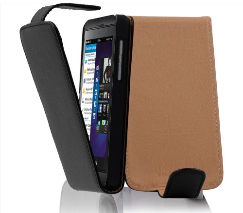 Cadorabo Case Works with BlackBerry Z10 in Oxide Black - Flip Style Case Made of Structured Faux Leather - Wallet Etui Cover Pouch PU Leather - Pouch Leather Blackberry Black