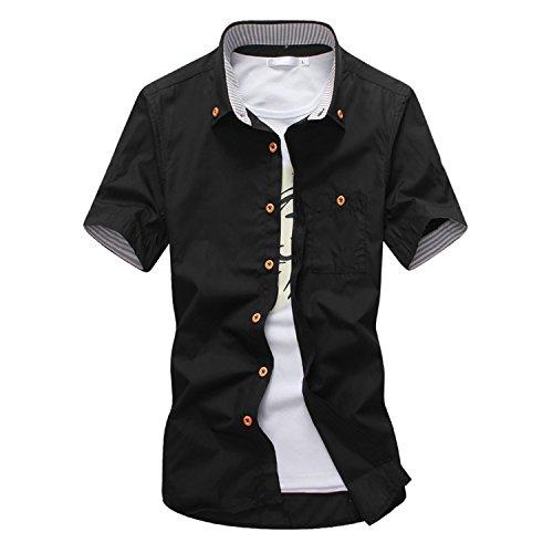 水曜日魔術間接的KMAZN メンズ ボタンダウン シャツ 半袖 無地 トップス カジュアルシャツ サイドスリット ワイシャツ