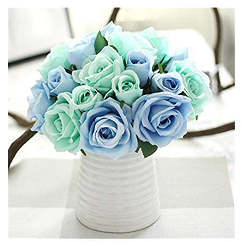 Lavany Artificial Rose Flowers 1 Bouquet 9 Heads Lifelike Artificial Fake Magnolia Silk Rose Floral Flower for Wedding Decoration Party Home Decor (Blue)