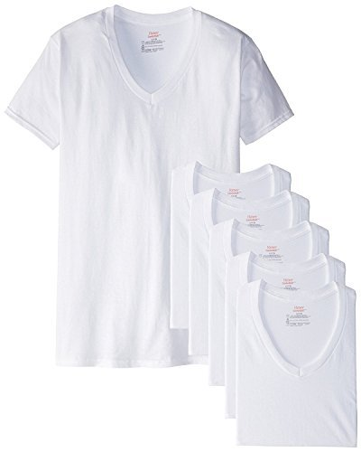 Hanes Men's Red Label Closure 6-Pack V-Neck T-Shirts (White, XX-Large 50''-52'' Chest)