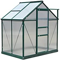 Outsunny Green 6ft x 4ft x 7ft Polycarbonate Garden Greenhouse