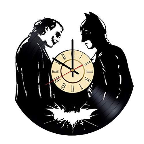 Joker vs Batman Vinyl Clock Gift for DC Comics Fans Bruce Wayne Wall Decor Gotham City Art Superhero vs Villain Home & Living Room Artwork -