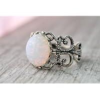 Aisamaisara Vintage Art Deco 925 Silver White Fire Opal Hollow Wedding Ring Size 6.7.8.9.10 (6)
