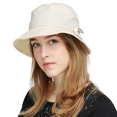 BLACK HORN Ladies Packable Women's Wide Brim Sun Bucket Hat (Sophie-Khaki) ()