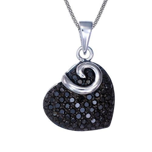 Silver Black Diamond Heart Pendant (0.85 CT) With 18 Inch Chain